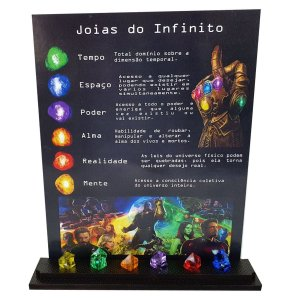 Quadro Vingadores + Expositor Joias do Infinito Thanos
