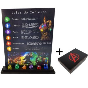Kit Quadro + Expositor Joias do Infinito Thanos + Caixa