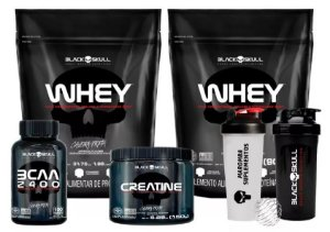 Kit 2x Whey Protein 900g + Bcaa + Creatina + Coq Black Skull