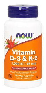 Now Vitamina D3 + K2 (120 Caps)