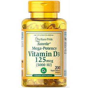 Vitamina D3 5000 Ui 125mcg Puritans Pride 100 Softgel Vit D3