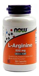 Arginina Pura L-arginine 500mg Now 100 Cápsulas Importada