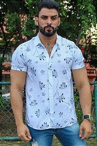 Camisa em viscose folhas