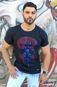 T-shirt caveira pedraria - PRETA