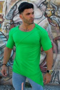 T-SHIRT LONG C/ RECORTE - VERDE