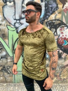 T-SHIRT LONG AVELUDADA - VERDE