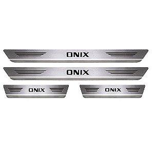 Soleira Porta Chevrolet Onix Mult Aço Inox Escovado