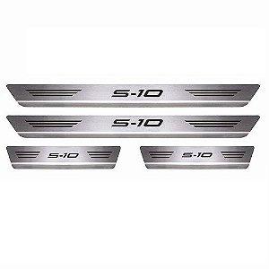 Soleira Porta Chevrolet S10 Cabine Dupla Aço Inox Escovado Mult