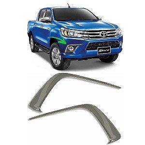 Moldura de Farol de Milha ShekParts Toyota Hilux 2016 a 2018 Cromado