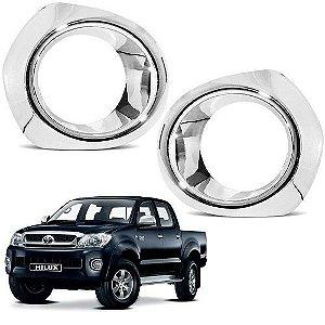 Moldura de Farol de Milha ShekParts Toyota Hilux 2005 a 2011 Cromado