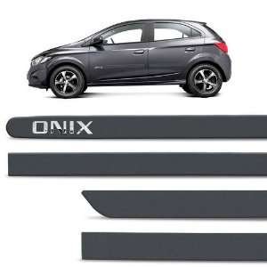 Kit Friso Lateral Sanfil Chevrolet Onix 2012 a 2019 Cinza Evenstar