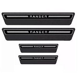 Soleira de Porta URA Ford Ranger Cabine Dupla Resinado Escovado