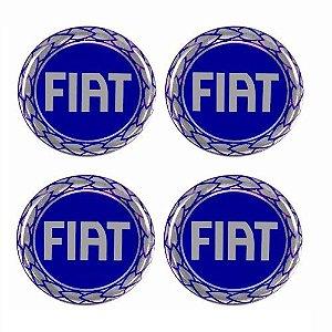 Emblema de Calota Fiat Azul 48 mm Resina URA