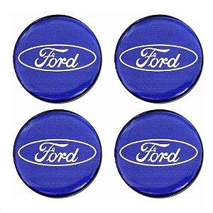Emblema de Calota Ford azul 48 mm Resina URA
