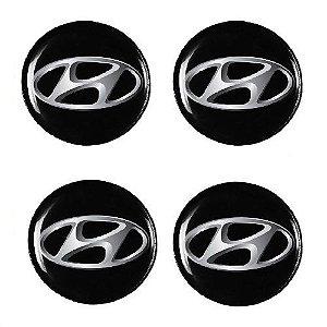 Emblema de Calota Hyundai 48 mm Resina URA
