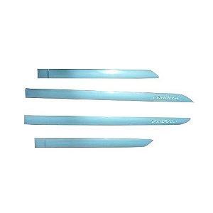Kit Friso Lateral Gpi Corolla 2020 Cinza Celestial com Nome Cromado