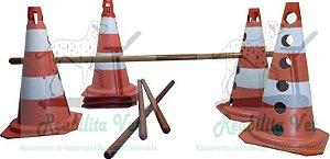 Kit Cones/Bastões Madeira para Obstáculo