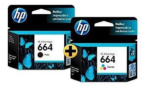 Kit Cartucho HP664 Preto e HP664 color Originais para 2676,3776