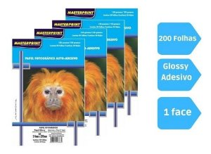 Kit Papel Fotografico Adesivo Glossy 130gr 200fl Masterprint