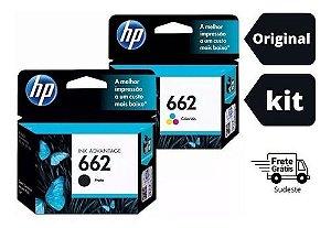 Kit Com 02 Cartucho Hp662 Preto+hp662 Color