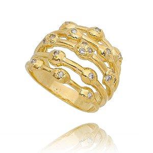 Maxi anel Splendore  em banho ouro e microzircônias