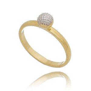 Anel Skinny Ring com bola trabalhada  banho em ouro 18k