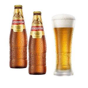 2 Cervejas Cusquena Golden Lager 330 Ml + Copo Kero