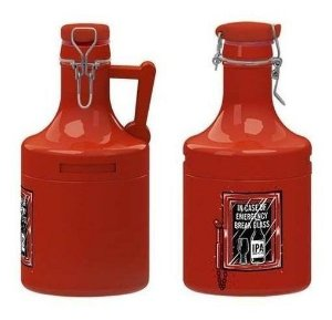 Growler Cerâmica 'em Caso De Emergência' - Vermelho. - 2 Litros