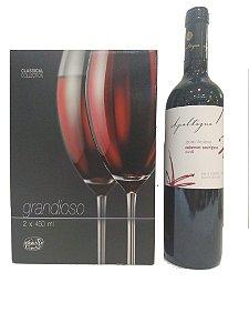 Conjunto 2 taças + vinho importado