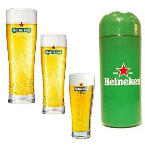 kit 3 copos Heineken + Porta Litrão Heineken