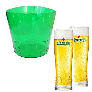 Balde Heineken Acrilico Original 3,8 lt + 2 Copos Heineken 250 ml