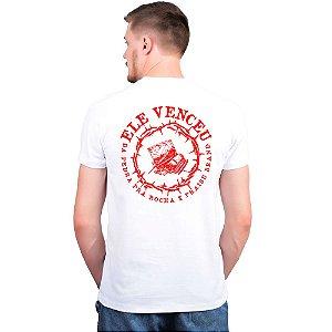 Camiseta Branca Ele Venceu x Colab Praise Brand