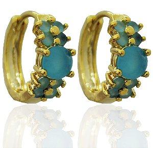 Brinco Argola Click Azul Folheado a Ouro 18k