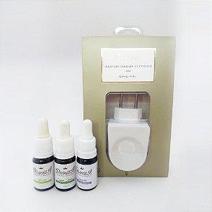 Kit 3 óleos aromáticos 10 ml com difusor elétrico