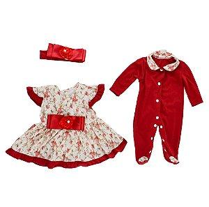 Conjunto de Roupa Vermelho Florido - Bebê Reborn