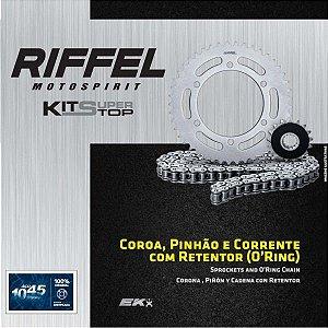 Kit Relação Riffel com Corrente Japonesa EK - KAWASAKI YAMAHA HONDA