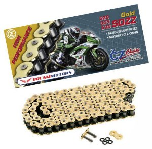 Corrente Cz Chains SDZZ 520 X'ring 120 elos - até 1000cc Dourada
