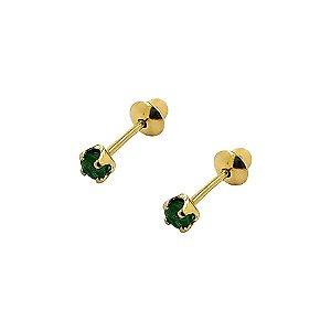 Brinco de Esmeralda Natura de 2,2MM e Ouro 18K Infantil