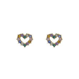 Brinco Coração de Ouro 18k com Zircôneas Coloridas