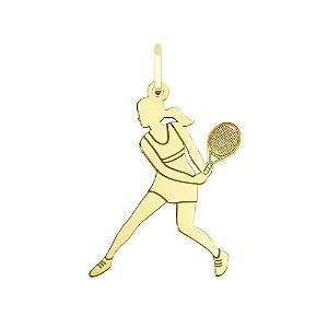 Pingente Jogadora de Tênis em ouro 18k