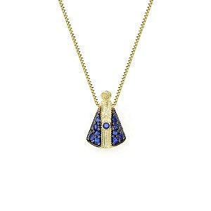 Conjunto em Ouro 18K com Gargantilha Veneziana 45cm e Pingente N. S.  Aparecida Zircônias Azuis