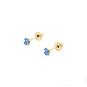 Brinco de Ouro 18k com Pedra Azul Zircônia 2,5mm Baby