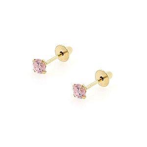 Brinco de Ouro 18k com Pedra Rosa Zircônia 2,5mm Baby