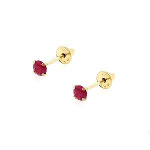 Brinco de Ouro 18k com Pedra Vermelha/Rosado Zircônia 2,5mm Baby
