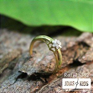 Anel Chuveiro com Diamantes Ouro 18k