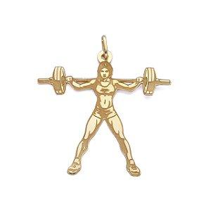 Pingente Mulher  bodybuilder M em Ouro 18k
