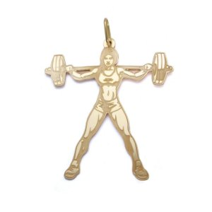 Pingente Mulher bodybuilder G em Ouro 18k