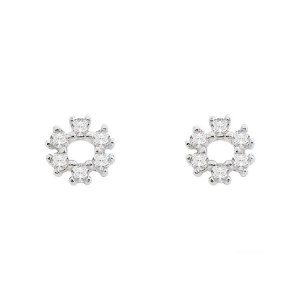 Brinco de Ouro Branco Infantil 18K Mini Chuveiro Redondo com Diamantes