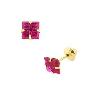 Brinco de Ouro 18K com Pedra Carre de Zircônia 4x4mm cor Vermelho/ Rosado