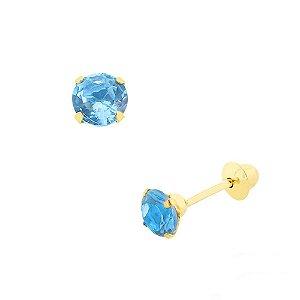 Brinco de Ouro 18K com Pedra Azul de Zircônia 3,5mm